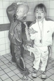 """This image depicts the """"gabber kids"""" phenomenon that resulted from the subculture developing into mainstream culture. Because of this, the gabber style became subsequently more common in multiple generations of Dutch children."""