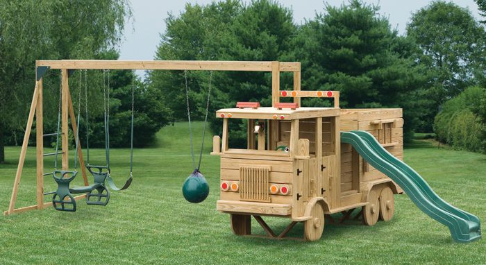 Wood Crew Cab Fire Truck Playset #Virginia #playground #kids