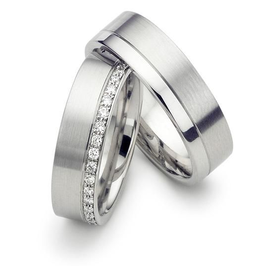 7/28-8/10 His & Hers Wedding Rings,Matching Wedding Bands,14K White Gold Wedding…