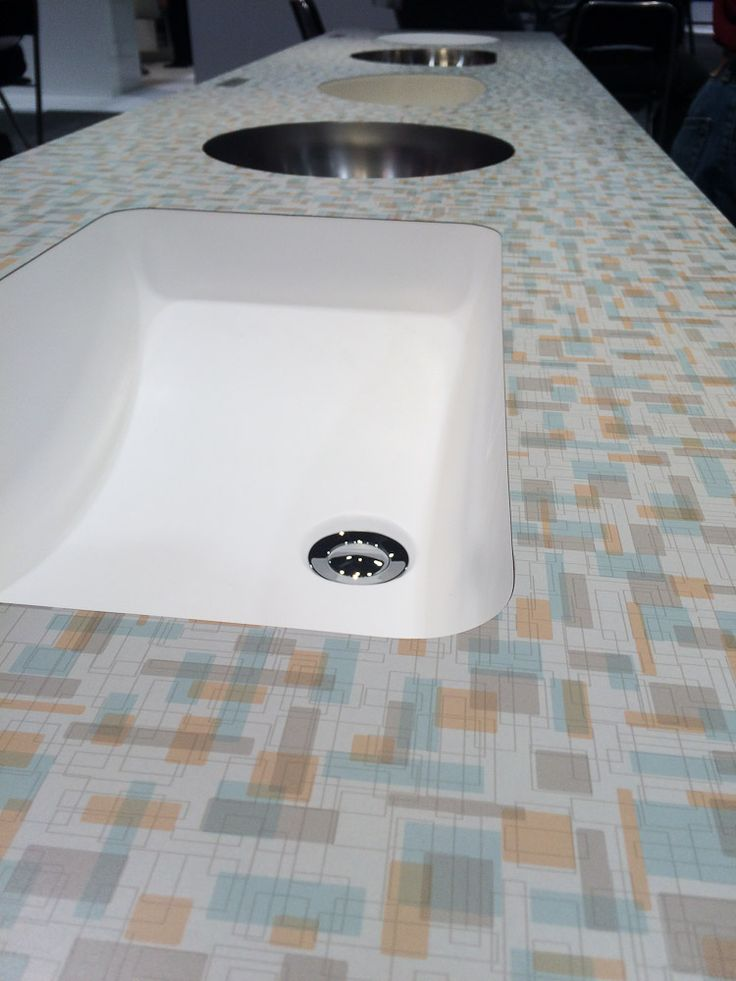 "Coming from Wilsonart this summer -- new ""Betty"" laminate for a retro or midcentury kitchen"
