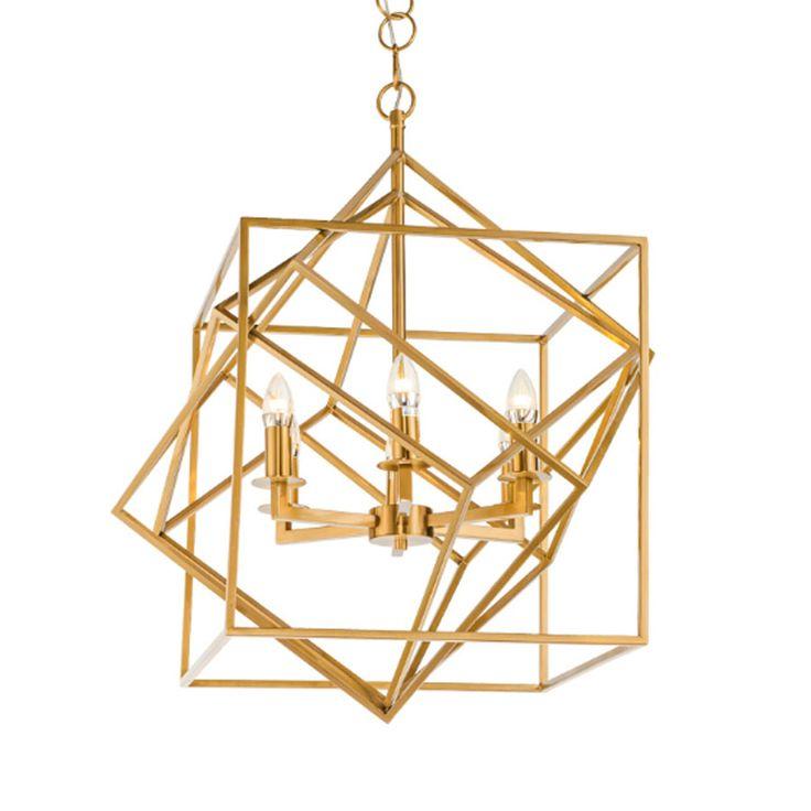 New modern square stainless steel golden chandelier luxury living room led light fixture E14 lustres high quality home lighting