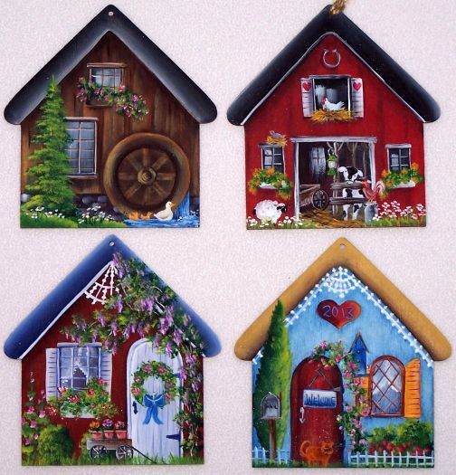 Country Houses Ornaments Pattern...pattern ideas (not free)