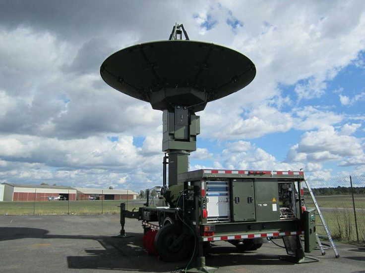 The Canadian Space Operations Centre (CANSpOC) has become integral to supporting Canadian Armed Forces (CAF) operations in just eighteen months since it was stood up. A ground trailer holds an antenna facing the sky outside in a parking lot.