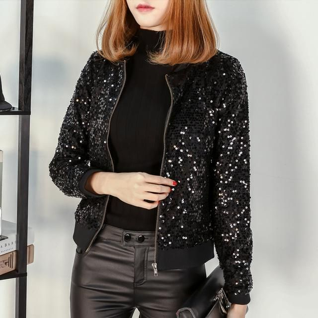 M-5 2018 Spring Log Sleeves Sequin jackets Women Plus Size Clothes Woman Coat of Autumn Casual bomber jackets coats feminina bla 2