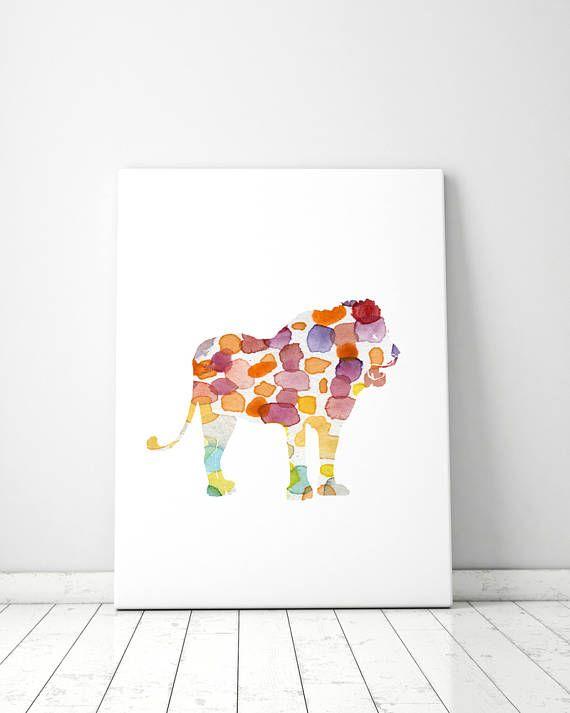 Leeuw illustratie  print  regenboog kleuren aquarel leeuw