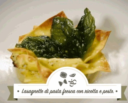 Lasagnette di pasta fresca con ricotta e pesto. Nel link Laura Ravaioli ci spiega come prepararle.