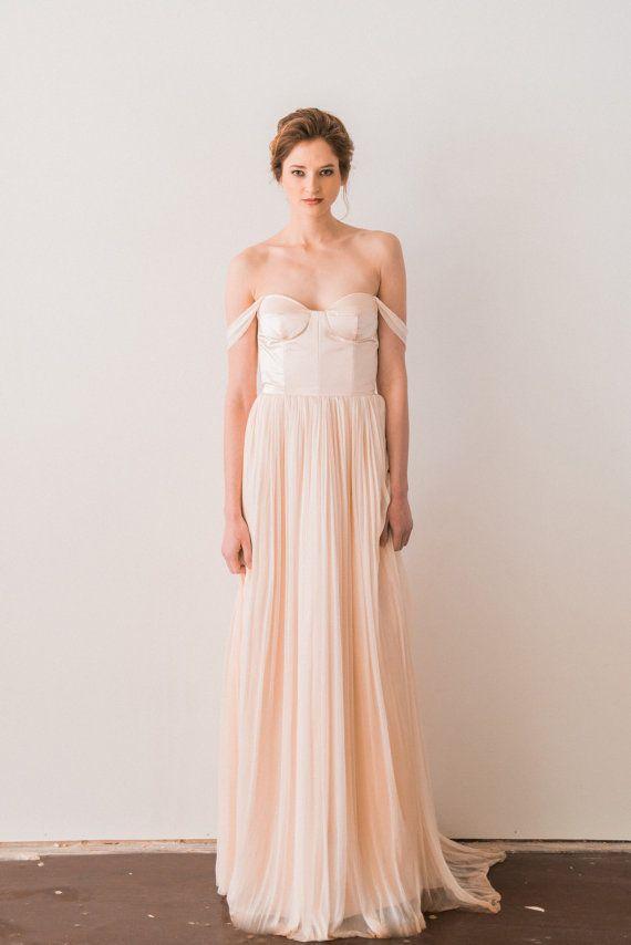 off the shoulder wedding dress blush pink wedding dress silk tulle wedding gown