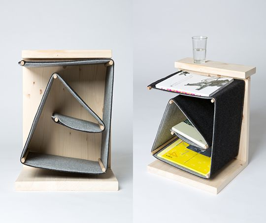 """Used in a smart way, fabrics are strong enough to work as shelves - """"Side Table"""" by Zuzana Kelemenová"""