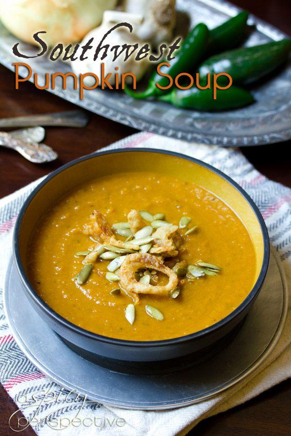 Healthy Southwest Pumpkin Soup Recipe   recipe by ASpicyPerspective.com #pumpkin