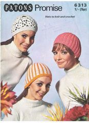 96a7c8afefc PAtons 6313 ladies hat vintage knitting and crochet pattern beanie and beret