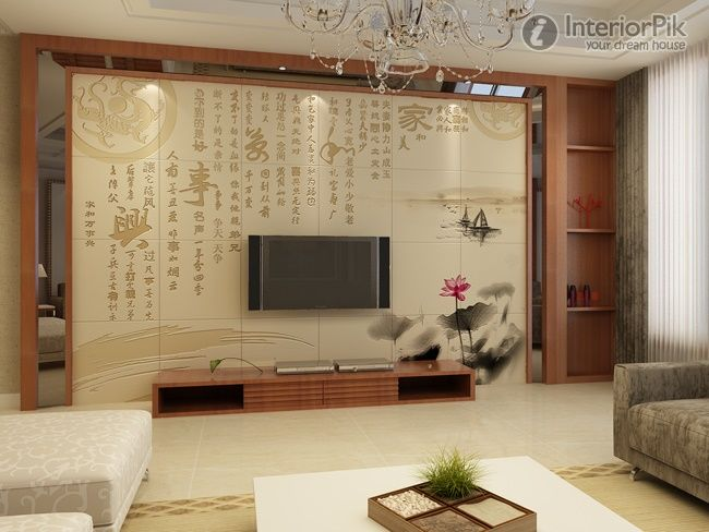 New chinese style living room tv background wall tile for Living room 3d tiles