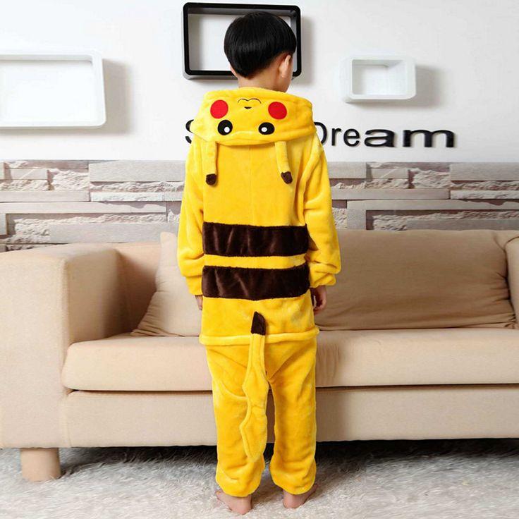 Lovely Cute Cartoon Animal Anime Pokemon Pikachu Kids Unisex Cos Pajamas Children Girl Boy Onesie Party Pajama Rompers