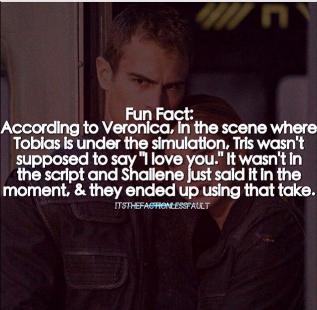When I saw the movie I was like um omg what? She's not supposed to say it yet!!!! It's kinda like a big deal in Insurgent so I was mad. But.........SHEO
