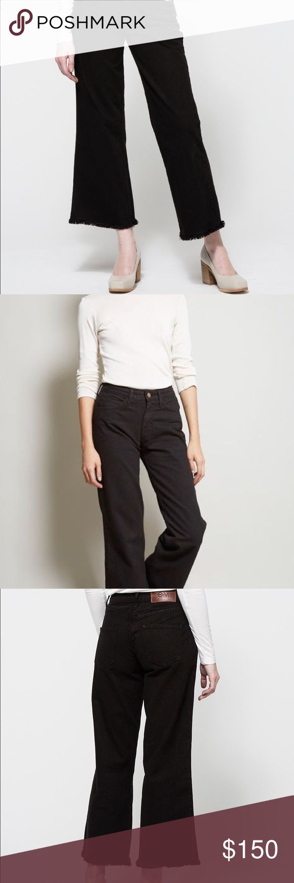 OBJECTS WITHOUT MEANING FLARE JEANS The Flare Jean in black. 5 pocket non-stretch denim with a mid-rise fit. Wide, cropped leg with a frayed hem. Button and zipper front closure. 100% Cotton. Machine wash separately, tumble dry low. Made in USA. Reminds me of the Everlane style pants Everlane Pants Wide Leg