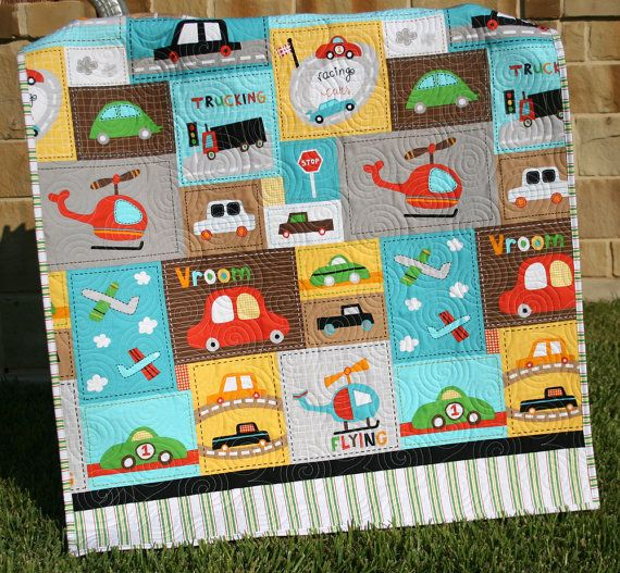 Last One Vroom Baby Boy Quilt Toddler Blanket Vehicles