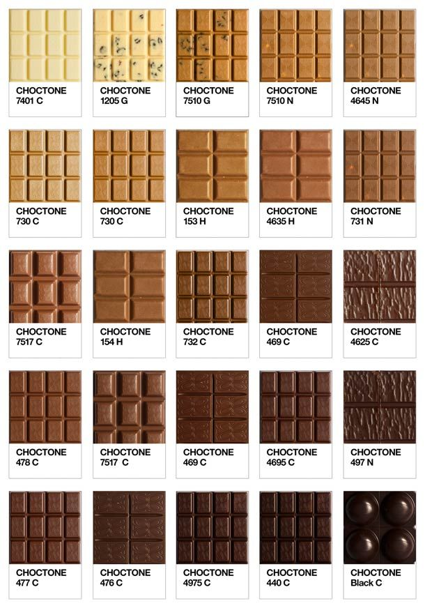 """""""Choctone"""", un appétissant nuancier Pantone du chocolat imaginé par le photographe Ramses Schweizer…"""