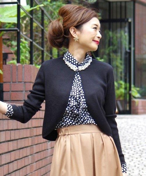 フェイクパール襟長袖ニットボレロ(カーディガン)|NARACAMICIE(ナラカミーチェ)のファッション通販 - ZOZOTOWN