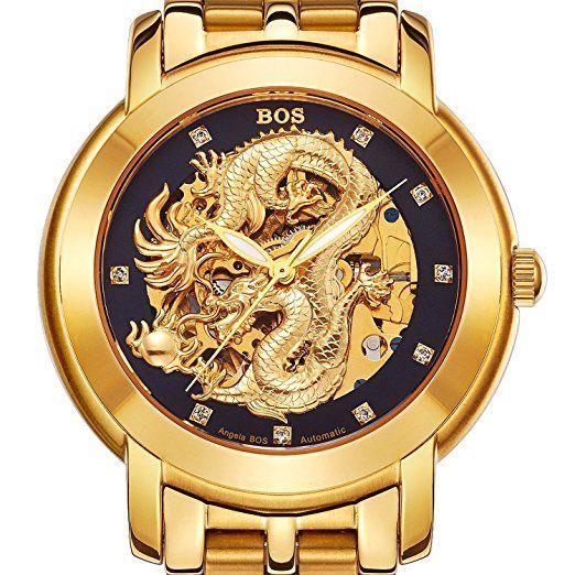 Angela Bos - Reloj mecánico para hombres, diseño de dragón chino, resistente al agua, correa de acero inoxidable: Amazon.es: Relojes-PREFERIDO-1
