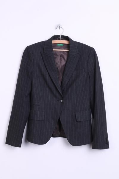 United Colors of Benetton Womens 40/42 S/M Set Striped and Blazer Dark Grey - RetrospectClothes