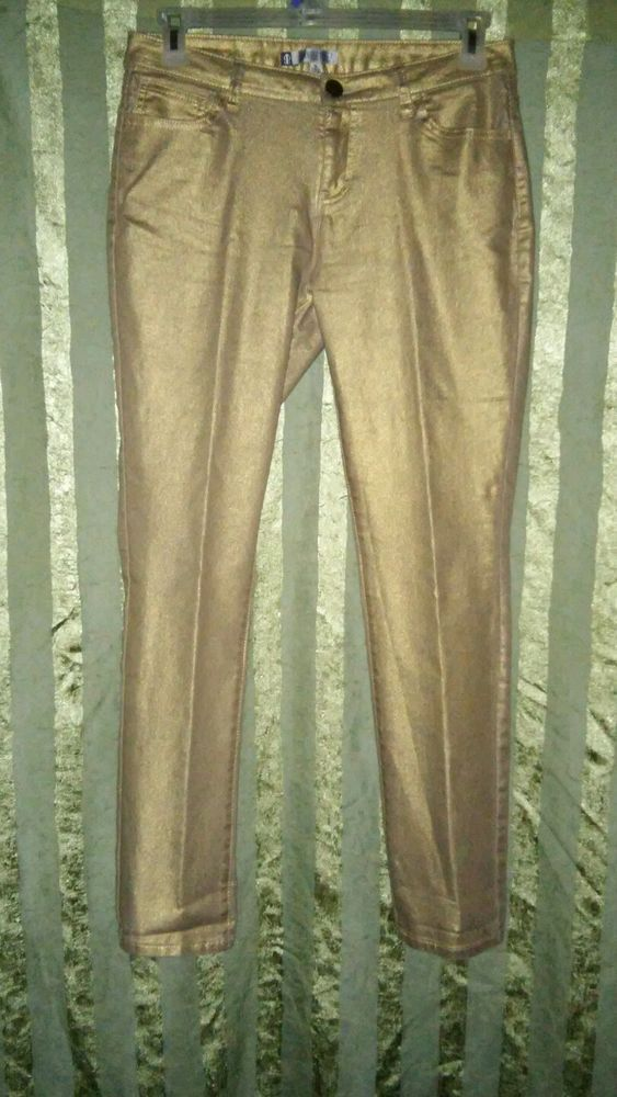 Jennifer Lopez Metallic Gold Straight Leg 5 Pocket Stretch Jeans Women's Size 10 #JLOJenniferLopez #StraightLeg