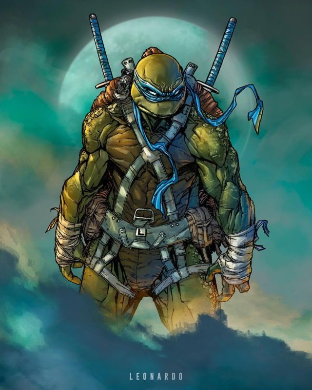 great take on Leonardo here.  I like details like the bumpy scaly skin and the straps for holding gear.  This is a ninja turtle which I would have faith in. Artist Unknown