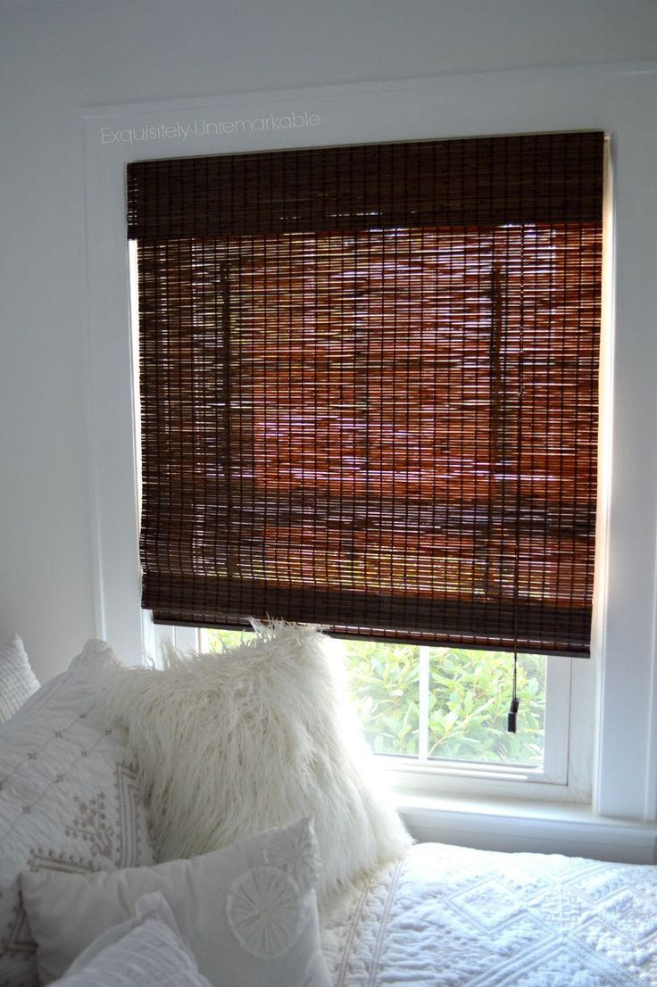 Hung on oil rubbed bronze curtain rod with bamboo roman shades - Diy Privacy Liner For Bamboo Roman Shades