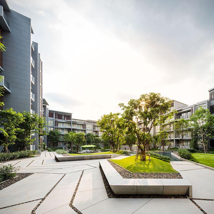The Valley | Sansiri - trees & grass make even the starkest buildings come to life! www.architectlarryladelfa.com