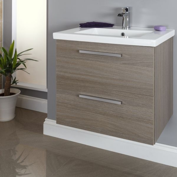 Vasari Wall Hung Vanity Unit Basin Grey Oak 600mm Width Bathrooms In 2018 Pinterest Bathroom Sink Cabinets And Units