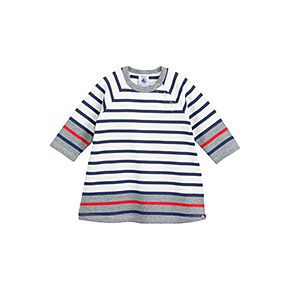 Petit Bateau US Official Online Store, Baby girl mariniere dress in heavy jersey with contrasting stripes, coquille multico, Baby Girl : Daywear, 34442