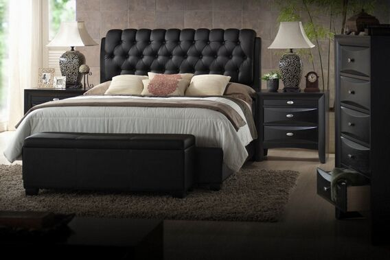 5 pc Ireland III Collection Black finish wood queen bed set with tufted black leather like vinyl panel headboard