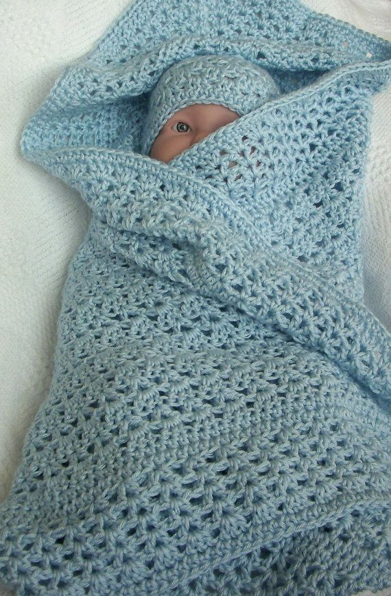 Crochet Baby Blanket Soft Blue Boy Crochet Blanket For A Boy