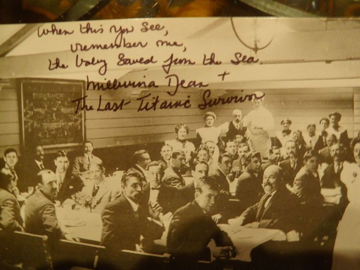 "Titanic Post Card Signed by Millvina Dean | eBay. ""When this you see, Remember me, The baby saved from the sea."""
