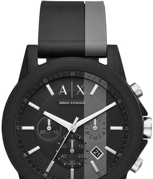 AX Armani Exchange Men s Outerbanks Black   Gray Silicone Strap Watch 45mm  by Armani Exchange AX Armani Exchange s Outerbanks is an energetic sport ... d83be5c16c