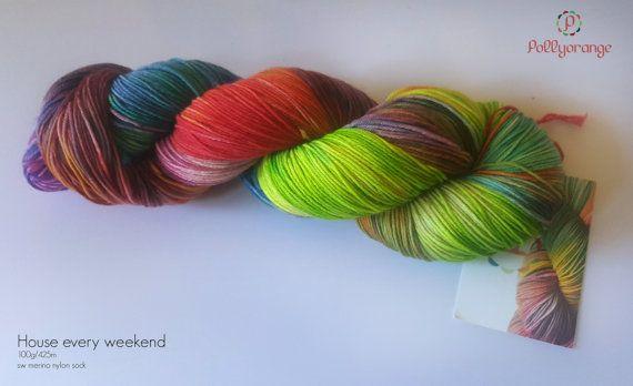 House Every Weekend hand dyed superwash merino by Pollyorange