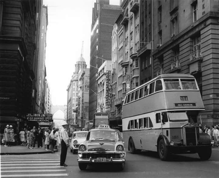 The corner of Pitt Street, and Martin Place, Sydney in 1964.  v@e.