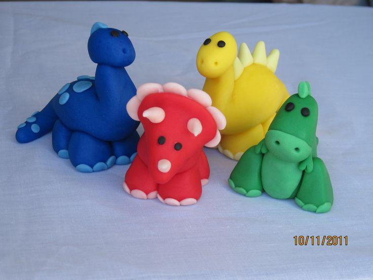 Fondant Dinosaur Cake Toppers- Set of 4. $34.99, via Etsy.