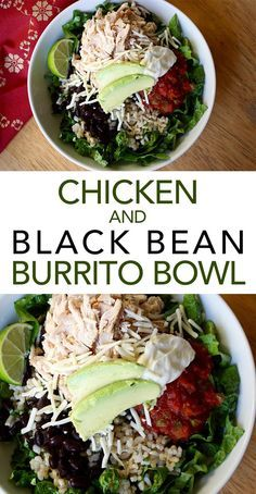 Chicken and Black Bean Burrito Bowl -- Make your own Mexican-inspired chicken burrito bowl with cilantro-lime rice and all the trimmings. // chicken recipes // healthy meals // easy lunches and dinners // high protein // meal prep ideas // beachbody   BeachbodyBlog.com