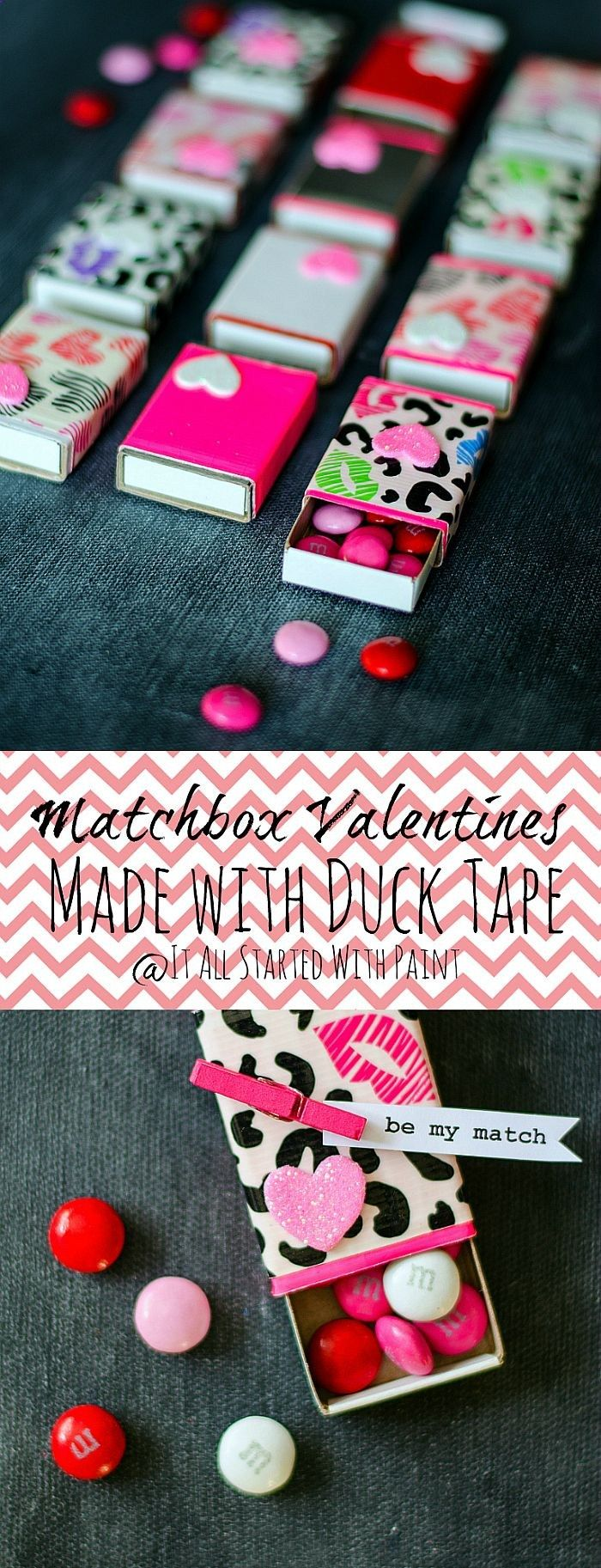 Matchbox Valentine made with Duck Tape