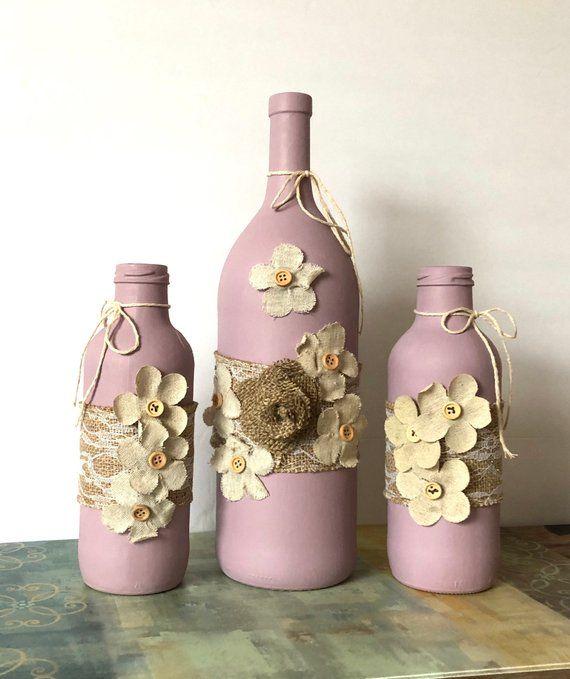 Painted Wine Bottles Farmhouse Style Decor Decorative Wine Bottle Diy Crafts Wine Bottle Decor Wine Bottle Crafts