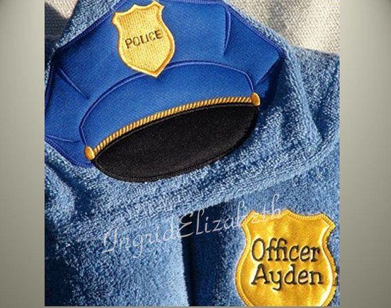 Police Hooded Towel  ... Bath or Pool Wrap .. by IngridElizabeth