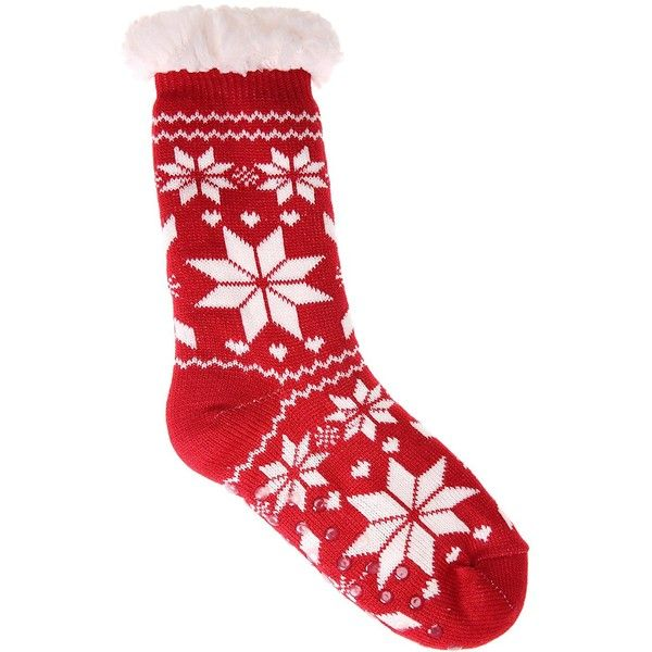 Dosoni Women's Fleece Lining Fuzzy Soft Christmas Knee Highs Stockings... ($13) ❤ liked on Polyvore featuring intimates, hosiery, socks, knee high hosiery, red socks, fuzzy socks, knee length socks and christmas socks