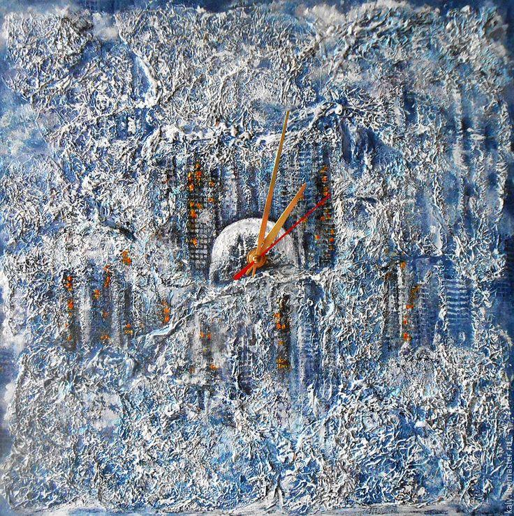 Купить Настенные часы картина зимний пейзаж Городской блюз абстрактный стиль http://www.livemaster.ru/kaly