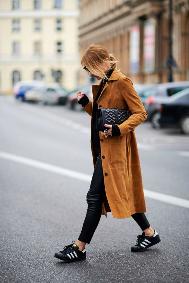 long suede coat + black adidas superstars