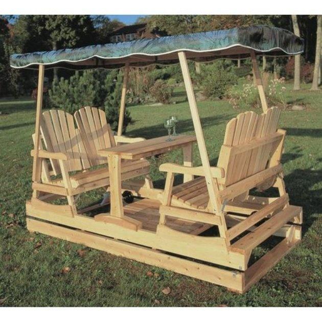 Deluxe Wooden Garden Glider
