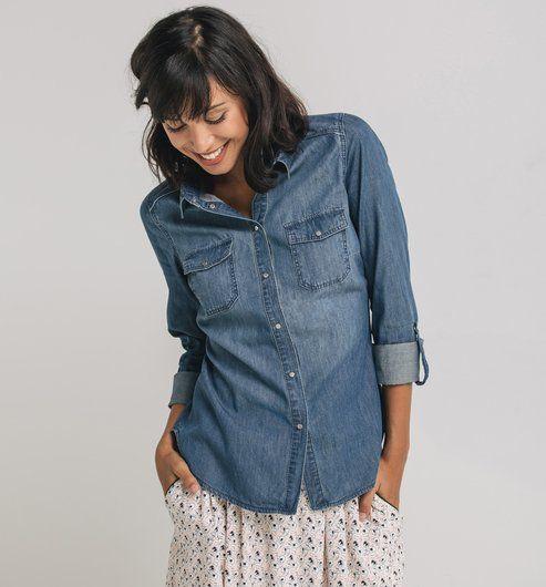 ber ideen zu jeanshemd damen auf pinterest wildleder ohrringe und outfits. Black Bedroom Furniture Sets. Home Design Ideas