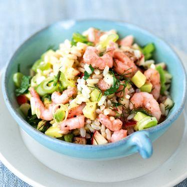 Reis-Krabben-Salat mit Avocado