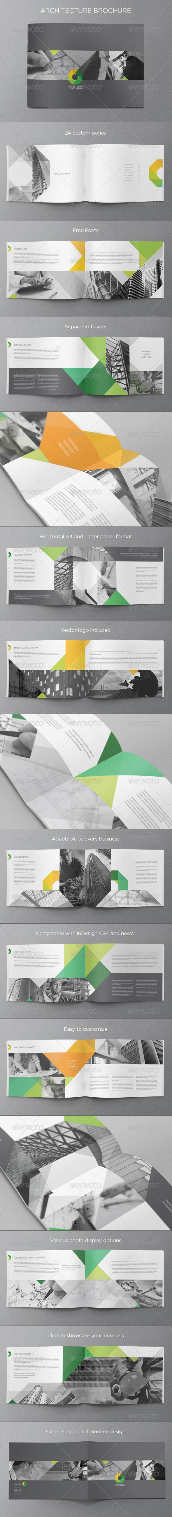 Modern Architecture Brochure  While not the same type of publication, the use of color against the black and white is very sleek. Again, the geometric patterns are nice and create a continuity between spreads.