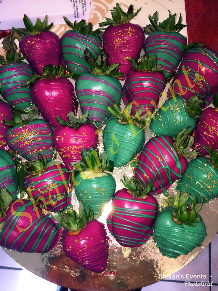 Purple, Green, and Gold Chocolate Covered Strawberries