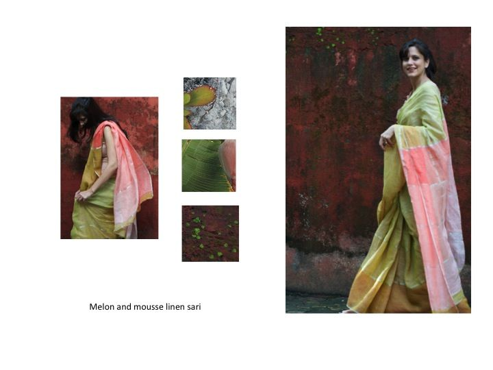 melon and mousse linen sari