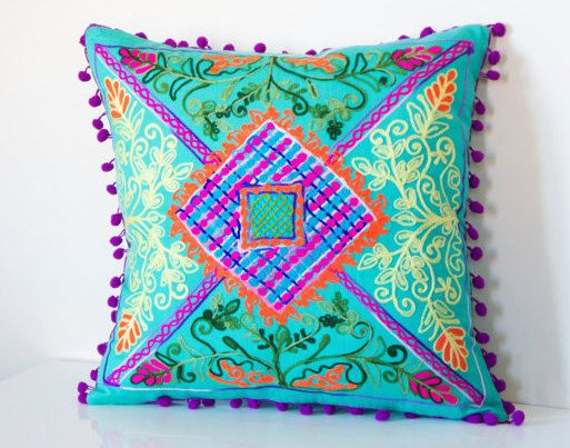 16x16 Inches Minty Green Turkish Traditional Decorative  Pillow, Bohemian Cushion Cover, Embroidered Pillow,  Pillow Case, Boho Chic Pillow